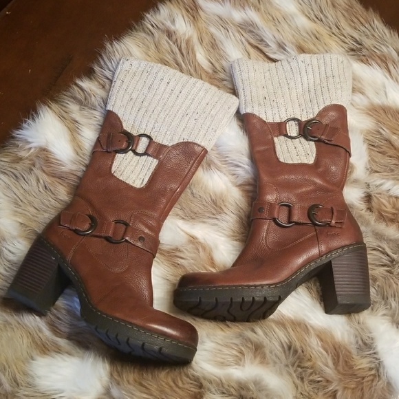 Boc Shoes Boc Knit Top Leather Mid Calf Boots Poshmark